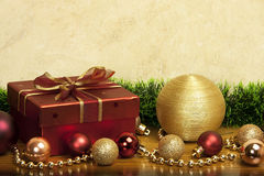 Christmas composition   with gift box Royalty Free Stock Image