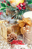 Christmas composition with gift boxand decorations Stock Photography