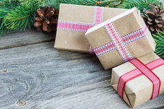 Christmas composition with gift boxes Stock Image