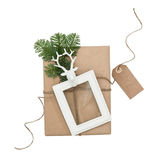 Christmas composition with gift picture frame paper tag Stock Photography