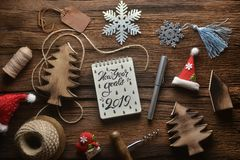 Notebook with decoration in new year theme. royalty free stock photo