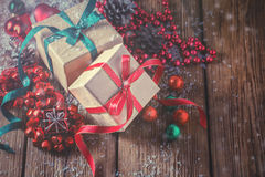 Christmas composition with gifts and decoration Stock Photos
