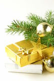 Christmas composition -  gifts and fir tree Royalty Free Stock Photos