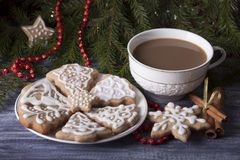 Christmas composition with ginger cookies and a cup of cocoa on royalty free stock photography