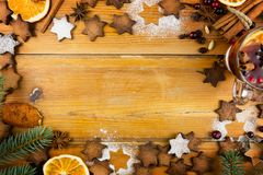 Christmas composition - gingerbread cookies, anise, cinnamon and royalty free stock photo