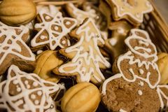 Christmas composition. Christmas gingerbread Flat lay, top view, square stock photography