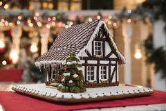 Christmas composition with Gingerbread house stock image