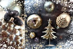 Christmas composition of gold decorations, golden trees, cones and sequins. New Year card. Creative artistic composition Stock Photo