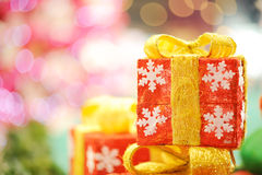 Christmas composition with gold Gift Stock Photography