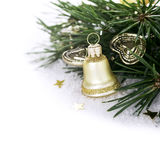Christmas composition with golden bell Royalty Free Stock Images