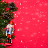 Christmas composition with golden stars on red background. Stock Image