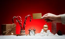 Christmas composition. Greeting card for new year alarm clock to stock images