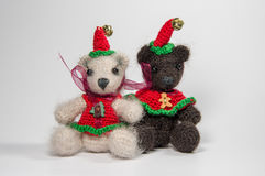 Christmas composition. Handmade - Knitted Bears. Christmas composition. Handmade - Knitted Bears on the white background stock images