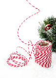 Christmas composition with hemp twine ribbon decorations, Royalty Free Stock Photos