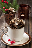 Christmas composition with holiday decoration Royalty Free Stock Images