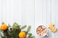 Christmas composition. Hot chocolate cookies, pine branches, cinnamon sticks, anise stars. Christmas, winter concept. Flat lay,