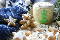 Christmas composition. Hot cocoa with marshmallows in knitted Cup, scattered ginger cookies in glaze on a white background royalty free stock photography