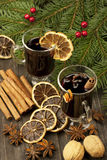 Christmas composition with hot spiced wine Royalty Free Stock Photography