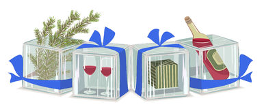 Christmas composition in ice cubes Royalty Free Stock Photo
