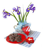 Christmas composition with irises and baking Stock Photos