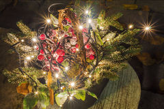 Christmas composition with light bulbs (street design of the bui Royalty Free Stock Photo