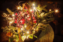 Christmas composition with light bulbs street design of the bui Stock Images