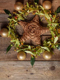 Christmas composition with linden blossom on old wooden table Stock Image