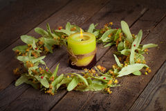 Christmas composition with linden blossom on old wooden table Royalty Free Stock Image
