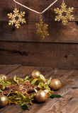 Christmas composition with linden blossom on old wooden table Stock Images