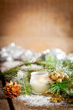 Christmas composition with linden blossom on old wooden table Stock Photo