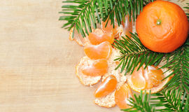 Christmas composition with mandarins and fir tree on wood white Stock Image