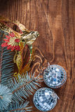 Christmas composition mirror disco balls and pinetree branch wit Royalty Free Stock Images
