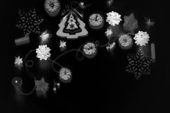 Christmas composition with a negative effect. Black and white Royalty Free Stock Photos