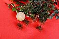 Christmas composition for new year celebration red background. Christmas composition for new year celebration on red background royalty free stock photos