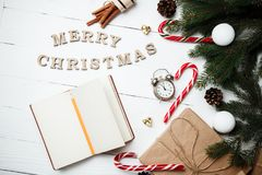 Christmas composition New Year concept clock with xmas gifts swe Stock Photo