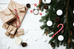 Christmas composition New Year concept clock with xmas gifts swe Royalty Free Stock Photography