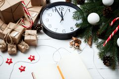 Christmas composition New Year concept clock with xmas gifts swe Royalty Free Stock Images