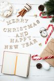 Christmas composition New Year concept notepad clock with xmas g Royalty Free Stock Image