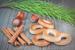 Christmas composition of nuts bagel sticks Canela. Stock Photos