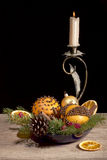 Christmas composition with orange pomanders Stock Photography