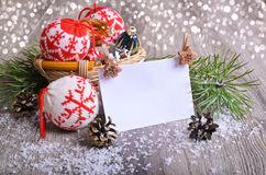 Christmas composition. With ornaments, pine cones, branches of fir trees and artificial snow Royalty Free Stock Photography