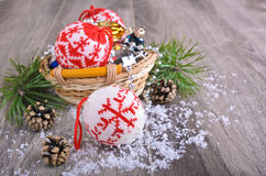 Christmas composition. With ornaments, pine cones, branches of fir trees and artificial snow Royalty Free Stock Image