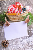 Christmas composition. With ornaments, pine cones, branches of fir trees and artificial snow Royalty Free Stock Photos