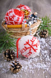 Christmas composition. With ornaments, pine cones, branches of fir trees and artificial snow Stock Photo