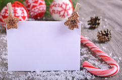 Christmas composition. With ornaments, pine cones, branches of fir trees and artificial snow Royalty Free Stock Photo