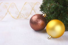 Christmas composition over wooden background Stock Images