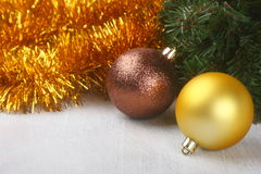Christmas composition over wooden background Royalty Free Stock Image