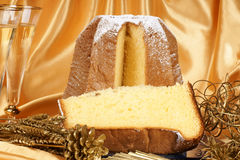 Christmas composition with Pandoro and spumante Royalty Free Stock Image