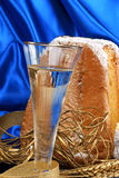 Christmas composition with Pandoro and spumante Stock Photography