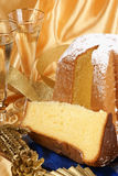 Christmas composition with Pandoro and spumante Royalty Free Stock Photos
